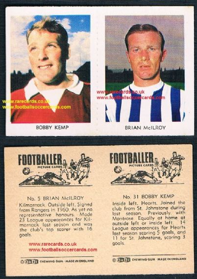 1966 A&BC Scottish coloured pair 31 Kemp Hearts 5 McIlroy Kilmarnock